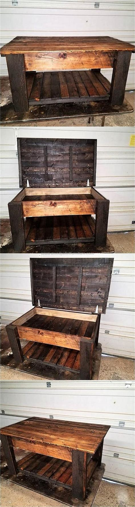 The large planter is made for the structural frame of the foot. Pallet Coffee Table with Storage   Pallet furniture, Diy ...