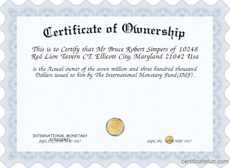 certificate  ownership certificate created