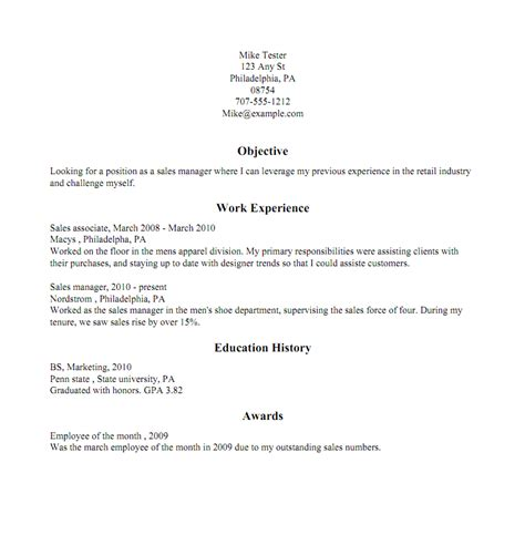 Traditional Resume Format Exles by Creating A Resume