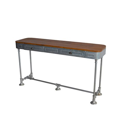 industrial sofa table industrial console table two drawer teak top Industrial Sofa Table