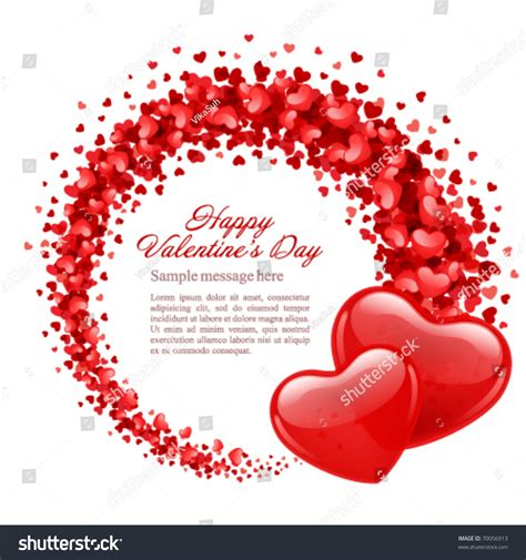 Valentines Day Vector Background Two Hearts Stock Vector