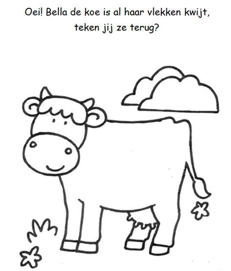 Kleurplaat Koe Zonder Vlekken vlekken tekenen koe boerderij boerderij activiteiten