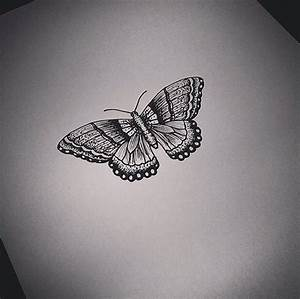 Cute small black-and-white butterfly tattoo design ...