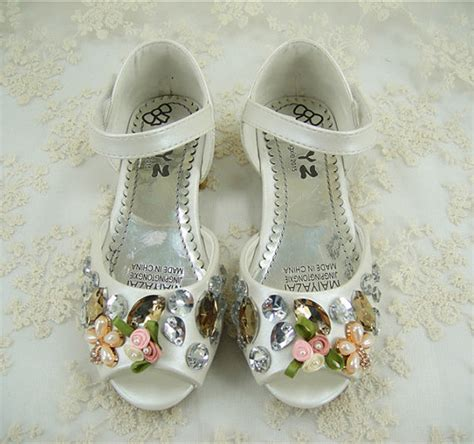 flower girl shoes pearl wedding shoes crystal girl shoes