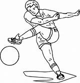 Football Coloring Soccer Playing Pages Wecoloringpage sketch template