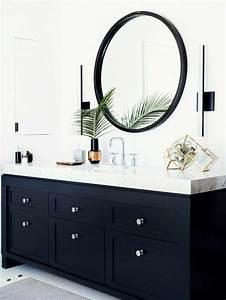 Meuble Salle De Bain Noir Et Bois : la salle de bain noir et blanc les derni res tendances ~ Teatrodelosmanantiales.com Idées de Décoration