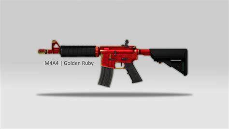 Cs Go Awp Wallpaper M4a4 Golden Ruby Counter Strike Global Offensive Skin Mods
