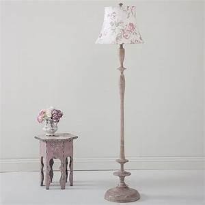 Quotsybilquot floor lamp with white shade pastel pink flowers for Pastel pink floor lamp