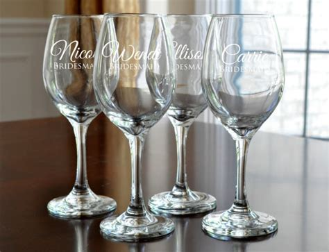 Personalized Wine Glasses Engraved Bridesmaid Wine Glasses