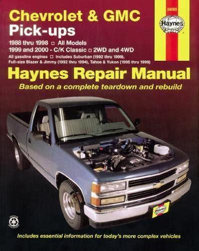 book repair manual 1999 mercury tracer parking system chevrolet and gmc pick ups 1988 98 c k classic 1999 2000 haynes repair manuals at virtual