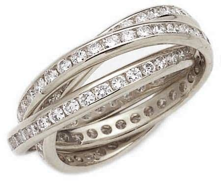 channel cubic zirconia rolling ring trinity ring russian wedding ring eternity band