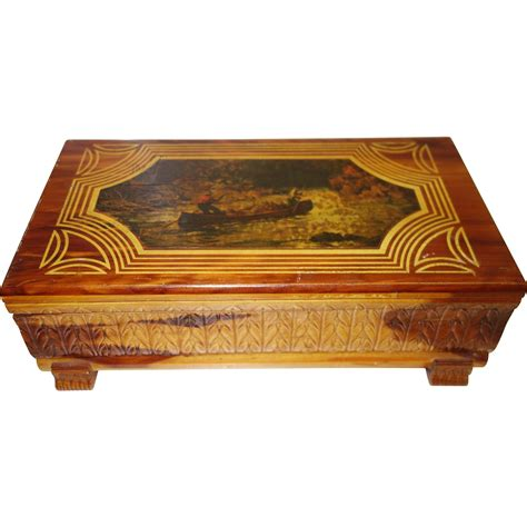 360 best shop vintage jewelry vintage carved cedar jewelry box with decoupage top from