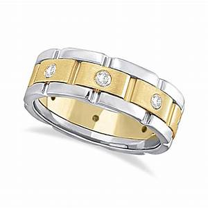 mens wide band diamond eternity wedding ring 18kt two tone With mens wide band wedding rings