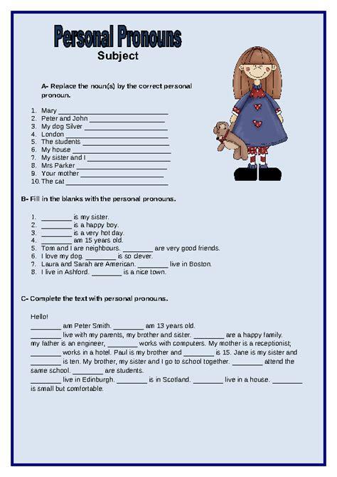 personal pronouns subject worksheet