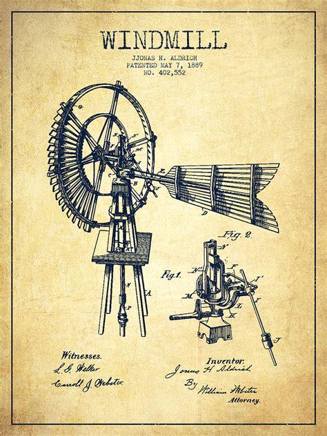 aldrich windmill patent drawing   vintage