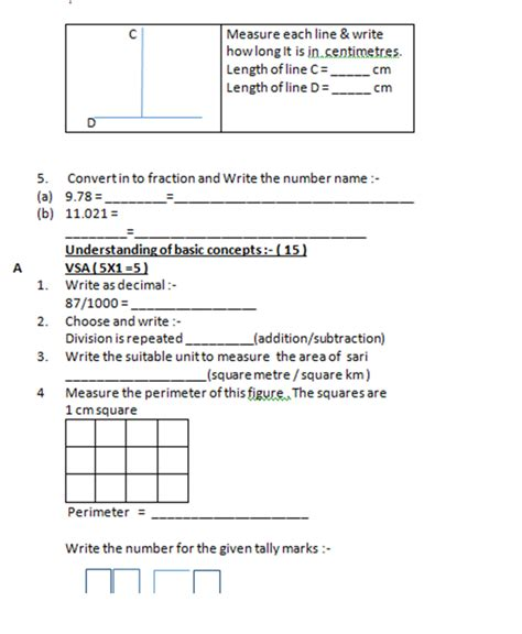 class 5 maths worksheets kv model test papers for class