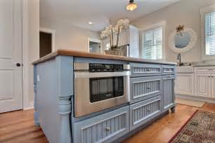 pre built kitchen islands blue country kitchen island with built in microwave this country style kitchen features a large