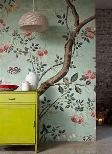 Papier Peint Chambre À Coucher : papier peint fleuri pour la chambre coucher moderne deco campagne pinterest papier peint ~ Nature-et-papiers.com Idées de Décoration