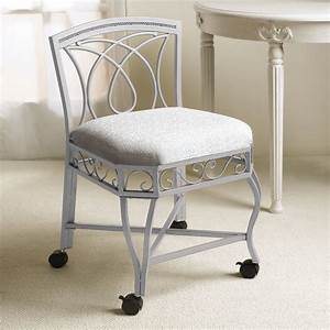 bedroom inspiring vanity chair with rustic white iron With vanity chair for bathroom with wheels