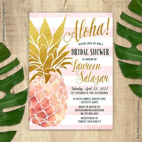 pineapple invitation bridal shower invitation pink  gold