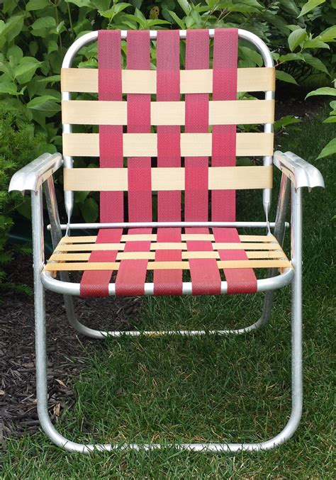 vintage aluminum webbed lawn chair folding patio cing