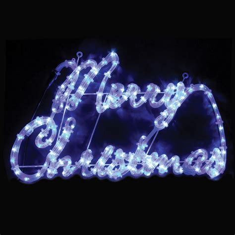 multi blue white merry rope light sign