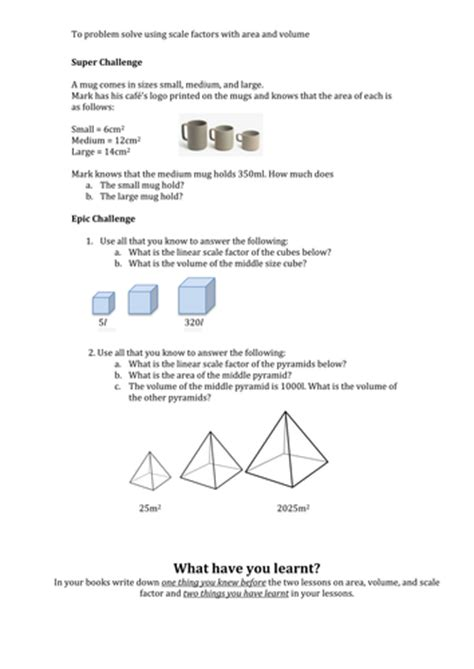 Scale Factor Wth Area And Volume By Bjk2014 Teaching
