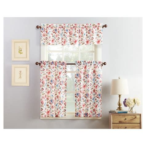 floral print microfiber 3 kitchen curtain