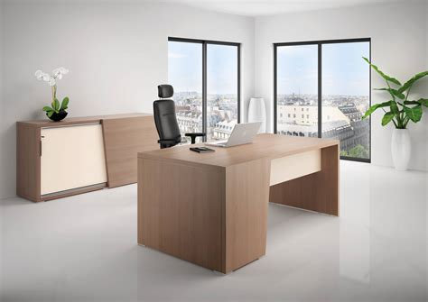 mobilier de bureau bureau direction b select coloris bois cèdre et table de