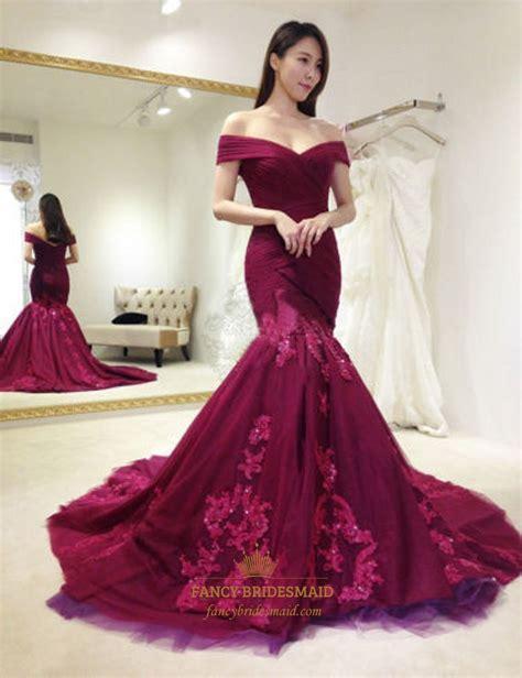 what color prom dress should i get burgundy the shoulder embellished mermaid formal