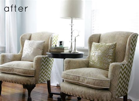 Getting A Chair Reupholstered by Before After Reupholstered Wingback Chairs Design Sponge