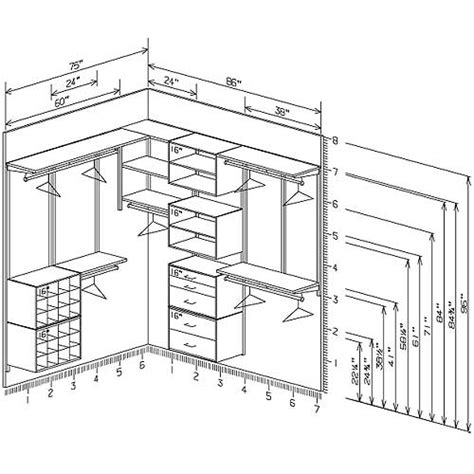 gallery walk in closet plans dimensions