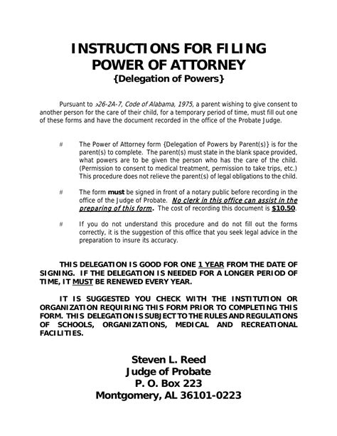 alabama power of attorney form pdf download alabama power of attorney for a minor child pdf