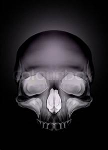 Black Graphic Human Skull With White Eyes X