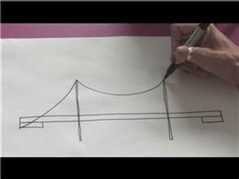 Drawing Tips : How to Draw a Suspension Bridge - YouTube