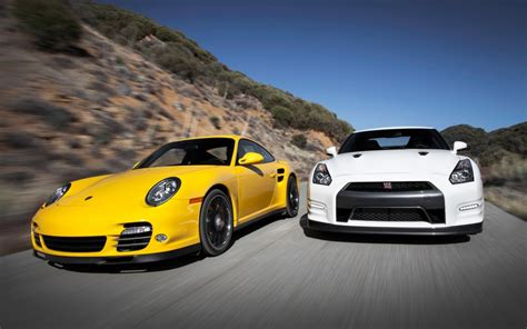 Porsche 911 Turbo Gt by Nissan Gt R Black Edition Vs Porsche 911 Turbo S Urbasm