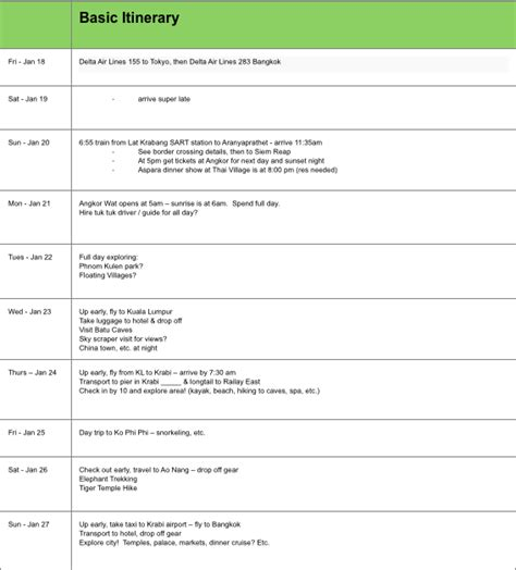 Travel Itinerary Template Travel Itinerary Template Keep Your Trip Organized With A