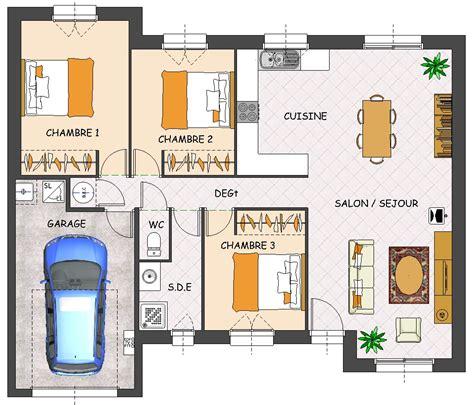 plan maison 3 chambres plain pied garage plan maison plain pied 3 chambres moderne maison moderne