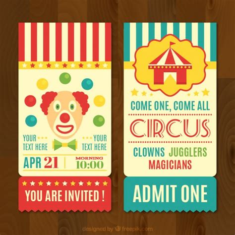 circus tickets vector retro circo ticket clown carnival freepik background ai edit ago years