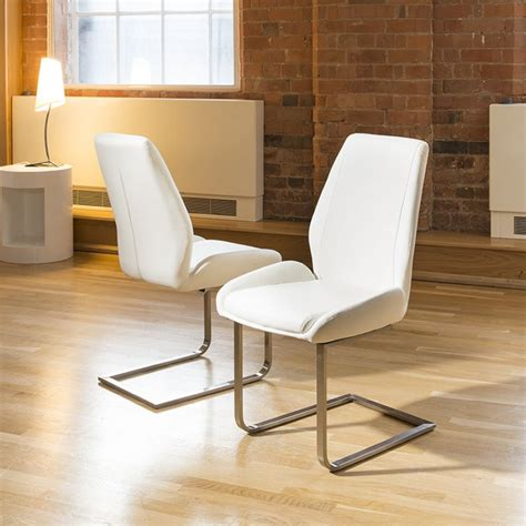 contemporary kitchen chairs dining chair chairs set of 2 white faux leather modern 2471