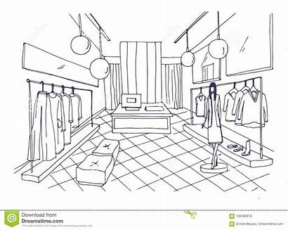 Boutique Clothes Mannequin Clothing Interior Outline Furnishings