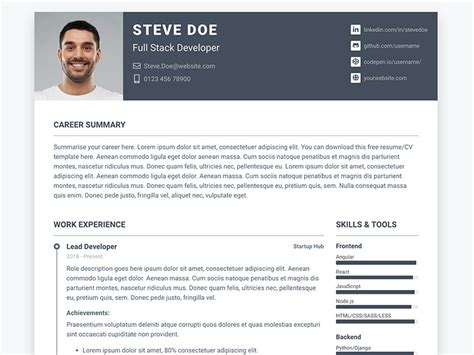 Theme Cv by Pillar Free Bootstrap 4 Resume Cv Template For