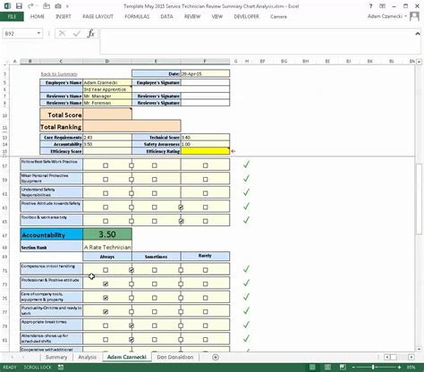 employee evaluation form exle performance review using excel