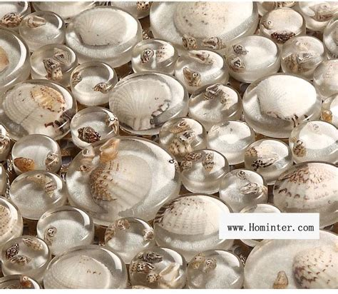 glass mosaic resin conch tiles backsplash penny round