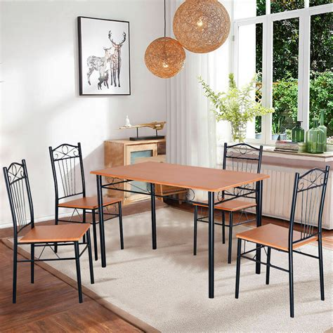steel frame dining set table  chairs kitchen modern