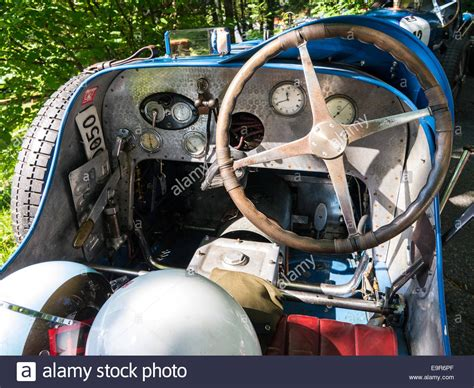 The Cockpit Of A Classic Racing Car Stock Photo, Royalty