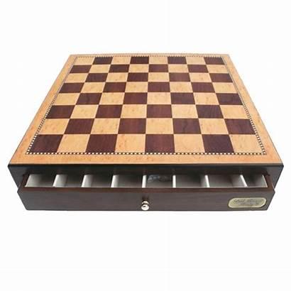 Chess Finish Walnut Gloss Drawers Compartments Staunton