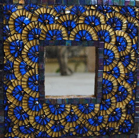 tile mosaic for sale blue and gold mosaic mirror