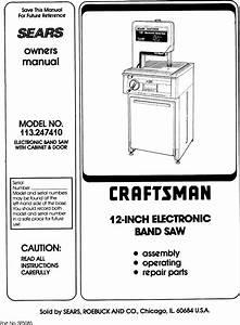 Craftsman 113247410 User Manual 12 Inch Electronic Band