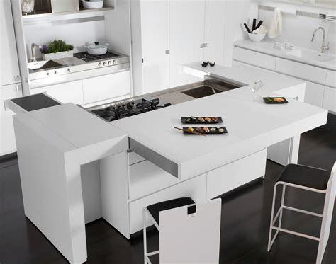 corian kitchen lacquered corian 174 kitchen with island essential quadra by